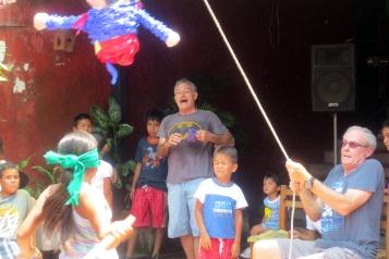 Pulling the Piñata takes skill...