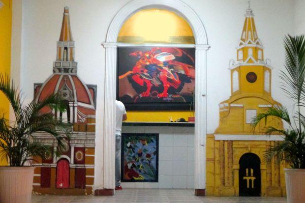 Paintings of Cartagena welcome guests at Hotel Balcones de Bocagrande
